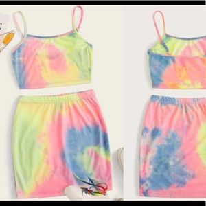 Tie-Crop Top and Skirt Set Brand New